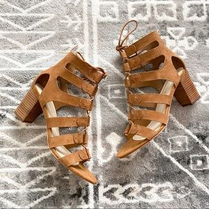 NWT Marc Fisher Lace Up Block Heel Sandals Suede